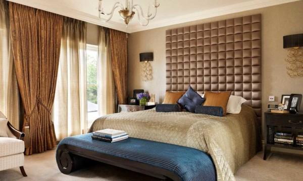 Плотные шторы на подкладке - способ защитить спальню от солнечного света