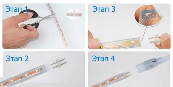Подключение специальной светодиодной ленты к сети 220В