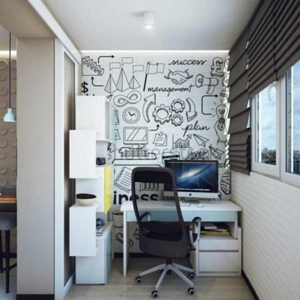 Рабочее место на лоджии - небольшой кабинет для работы