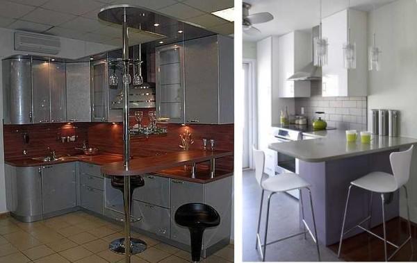 Фото барной стойки на маленькой кухне