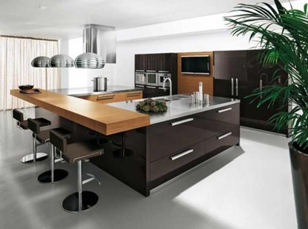 Барная стойка для кухни как продолжение стола-острова