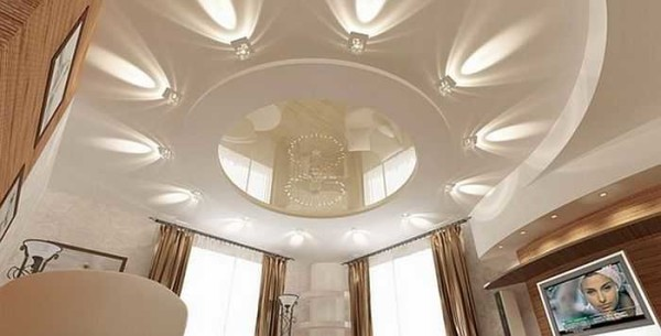 Оформление потолков в квартире: гостиная