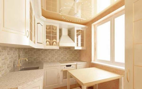 Дизайн потолка в маленькой кухне
