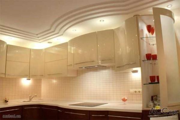 Потолок, сделанный в виде ступенек округлой формы