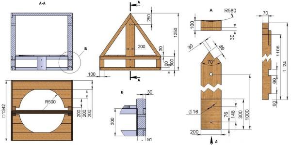 Домик для колодца своими руками чертежи с размерами