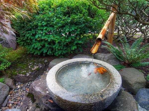 фонтан на участке в японском стиле