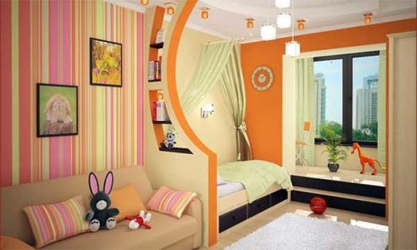Зонирование детской комнаты при помощи разных обоев