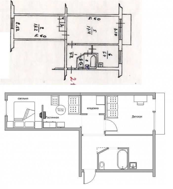 Смежные комнаты схема