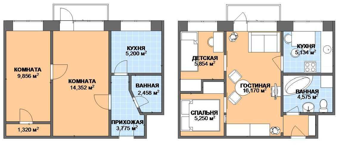 Дизайн интерьера трехкомнатной квартиры П-44Т, пример