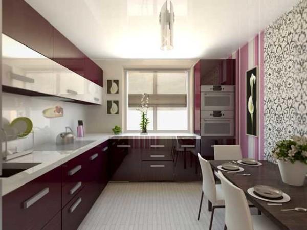 В квадратной кухне удобно мебель расположить углом