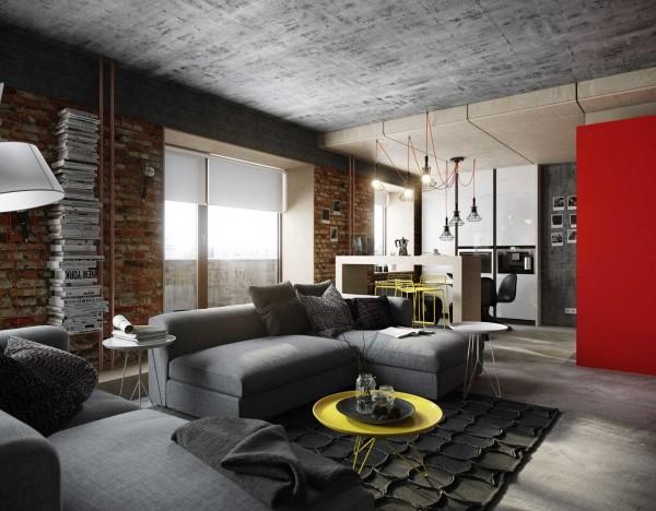Гостиная в стиле лофт - мебель посередине помещения