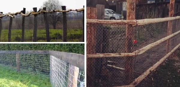Забор из сетки рабицы на деревянных столбых