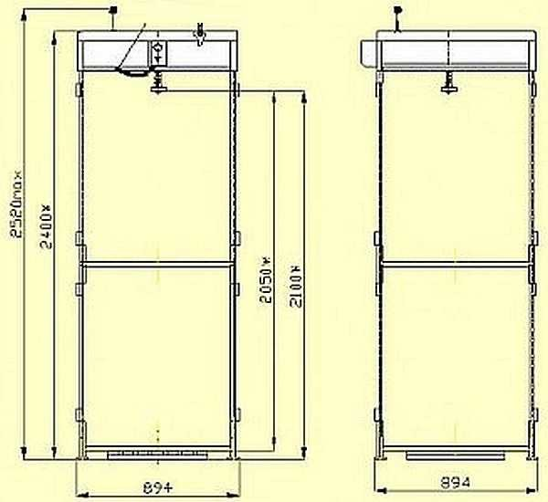Чертеж кабинки для душа на даче (с минимальными размерами)