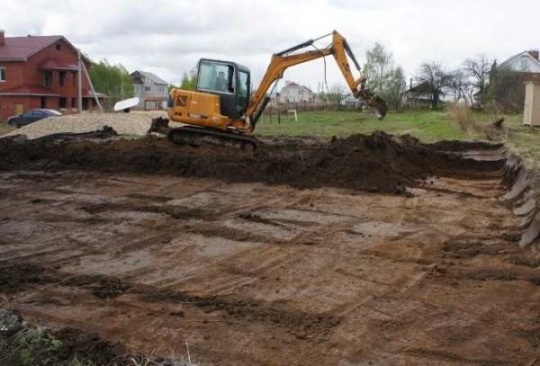 Выкопать котлован с запасом в 1 метр во все стороны