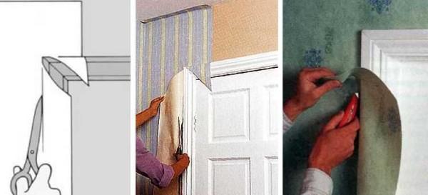 Как клеить обои около двери