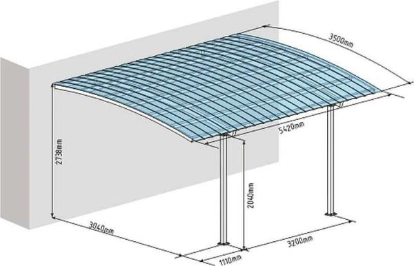 Чертеж навеса с односкатной крышей, пристроенной к дому