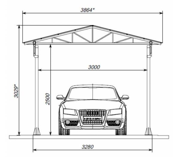 Чертеж двускатной крыши навеса для машины из металла