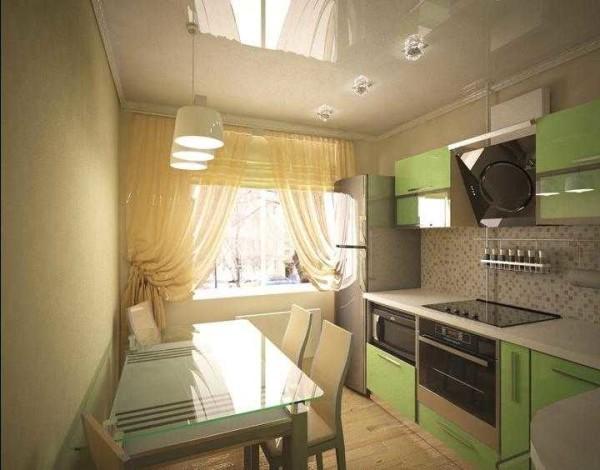 Дизайн кухни 9 кв м - линейное расположение кухонного гарнитура