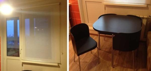 Штора - рулонная, стол и стулья - легкие