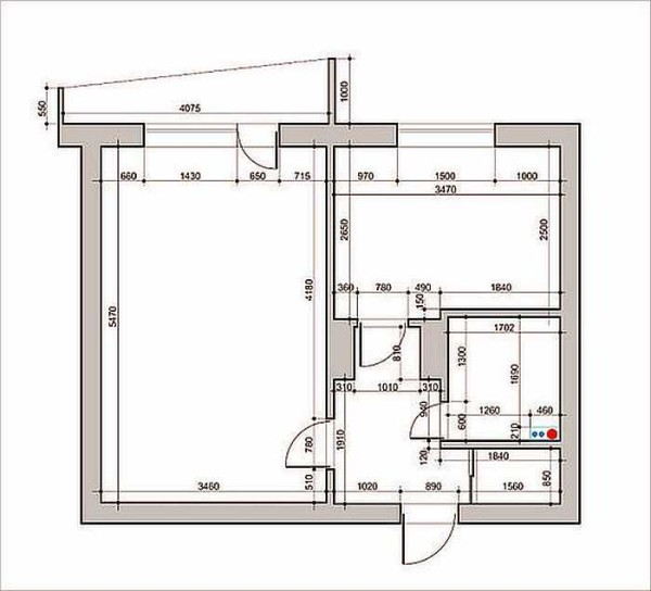 План квартиры до ремонта с размерами