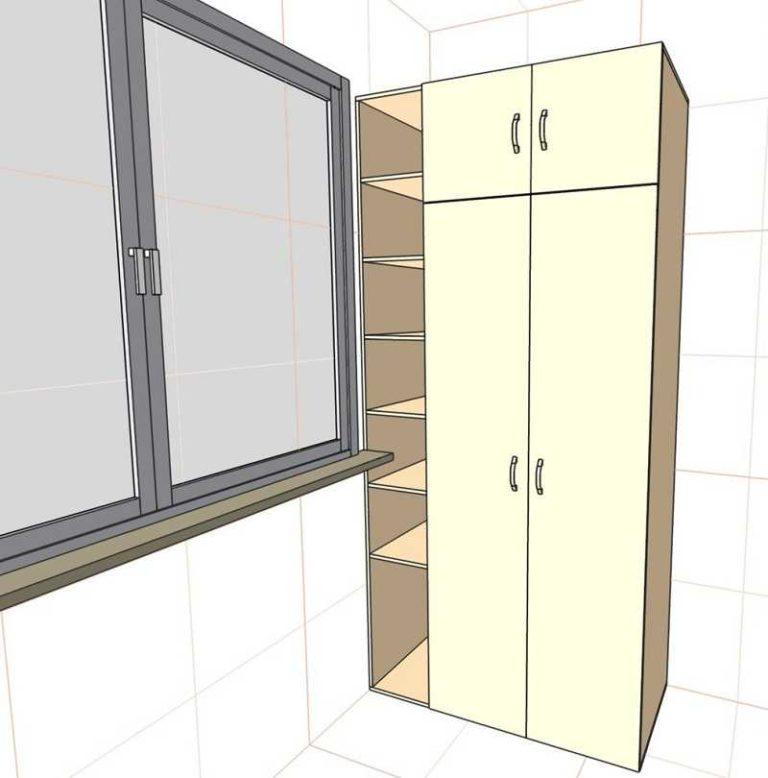 Шкафы распашные угловые на балкон.