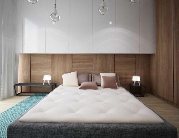 Стены из дерева в спальне скандинавского стиля