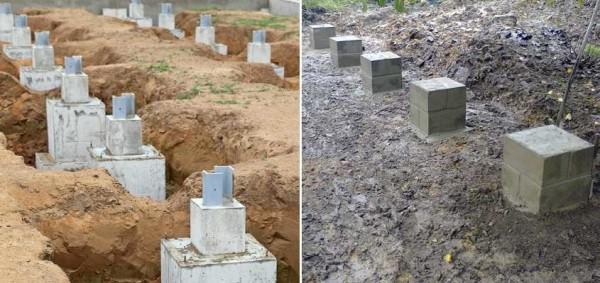Два вида столбчатого фундамента из разных материалов, под здания разного веса