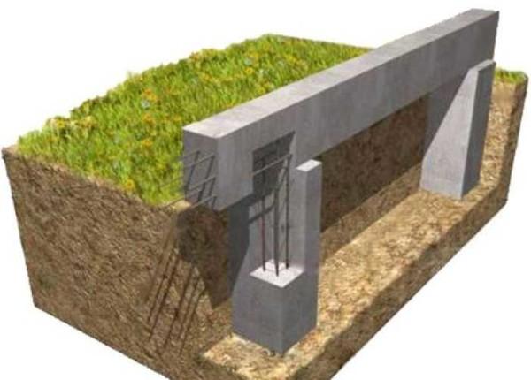 Пример столбчатого фундамента с монолитным ростверком