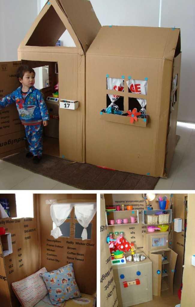 Как сделать домик из картона для детей своими руками фото