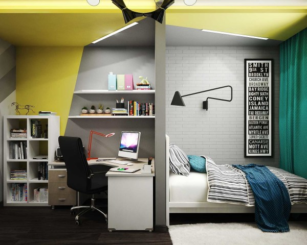 Спальную зону от рабочей можно отделить гипсокартонной преегородкой
