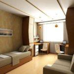 Дизайн комнаты для двух мальчиков с кроватью и диваном