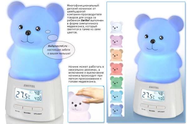 Детский ночник с часами включается от прикосновения - удобно