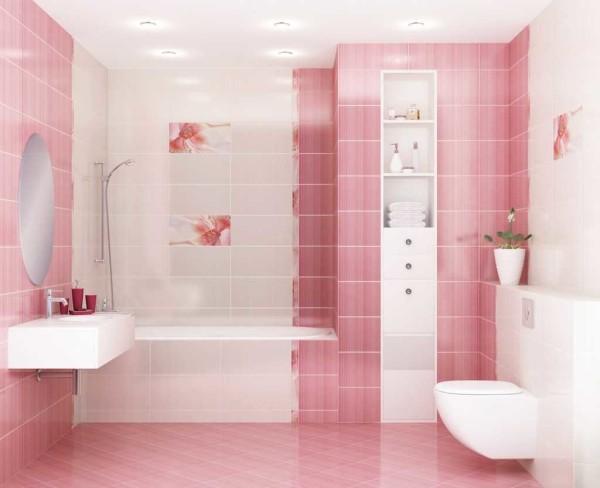 Бело-розовый вариант отделки санузла