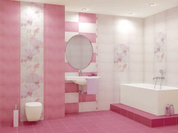 Для романтичных особ - розовый санузел с цветочным декором