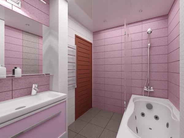 Розовая матовая плитка в санузле - вид другой