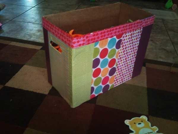 Готовая самодельная коробка для игрушек