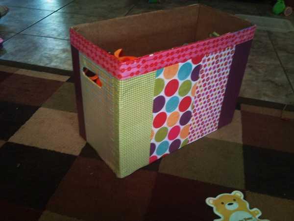 Как сделать из картона ящик для игрушек