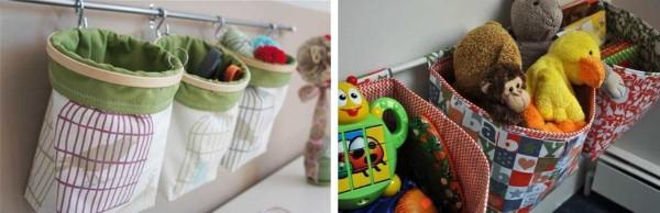 Кармашки или мешочки на трубе - еще одна идея для хранения игрушек в детской