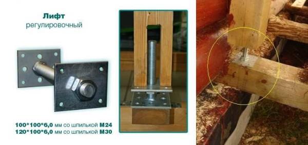 Установка стоек крыльца с возможностью компенсации усадки деревянного дома