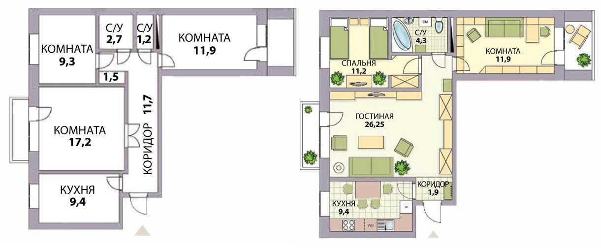 Идеи для перепланировки трехкомнатной квартиры