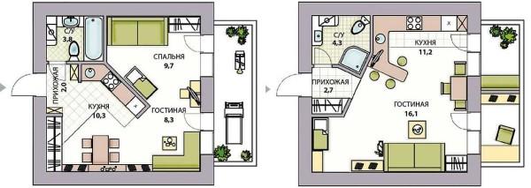 Варианты перепланировки квартиры в студио