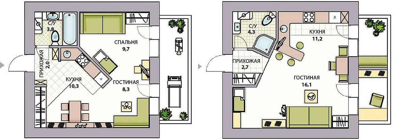 планировки в кирпичной хрущевке: двушка в доме серии 1