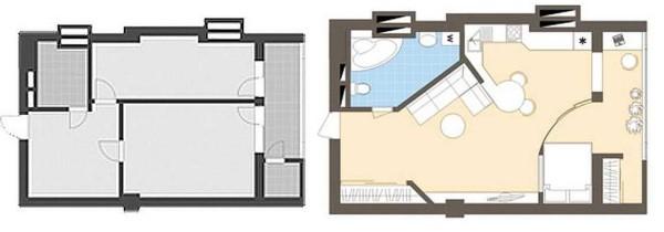 Выделение спальни в однокомнатной квартире при помощи радиальной перегородки и присоединения балкона