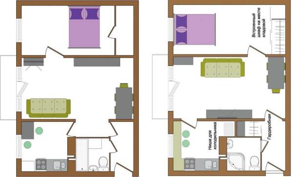 В этом варианте ремонта малогабаритной квартиры не только перенесли двери, но и перегородки и объединили санузел