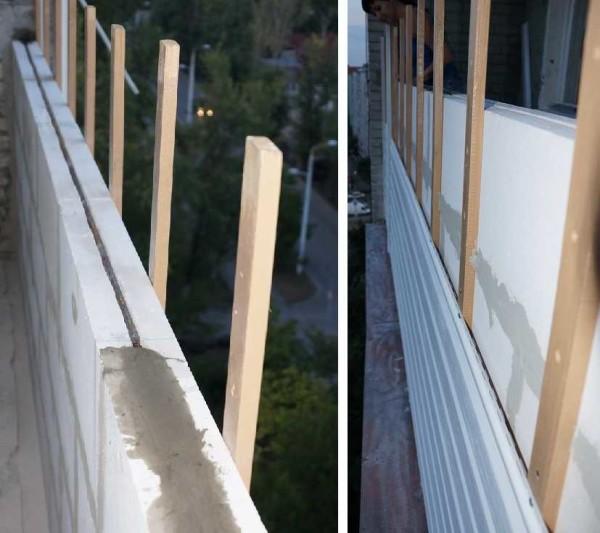 Перегородка на балконе из газобетонных блоков. Видна арматура (на фото слева). Параллельно монтировались снаружи деревянные планки, на которые крепился садйнг