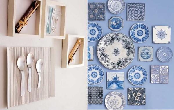 Декор для стен кухни можно сделать из столовых приборов или посуды