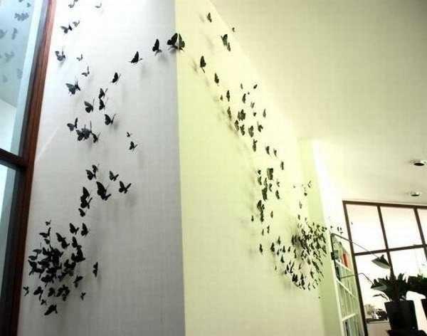 Украсить стену бабочками - мило и неожиданно