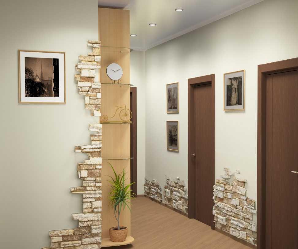 Дизайн стен кирпичом в прихожей