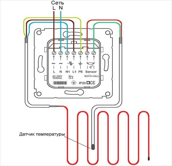 Греющий кабель для водопровода - схема подключения к терморегулятору