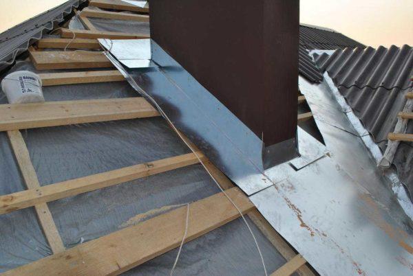 Организация прямоугольной обхода трубы на крыше